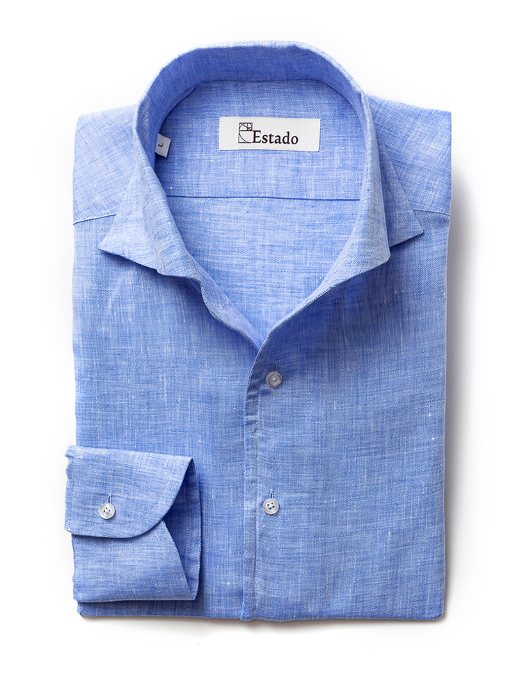 Linen shirts - One piece collar (blue)estado(에스타도)