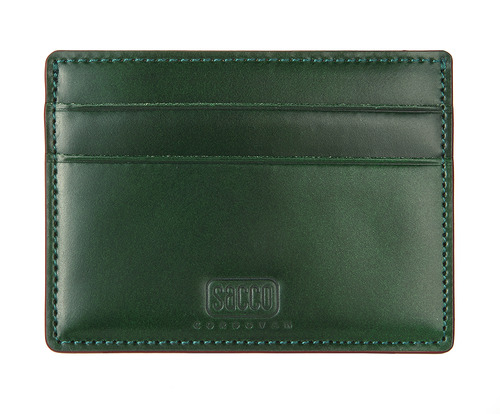 cordovan card case green