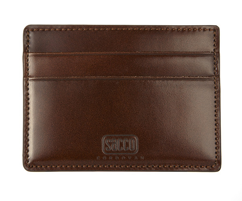 cordovan card case brown