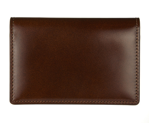 cordovan business card wallet brown