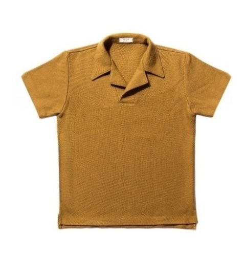 Mesh cotton polo_mustard