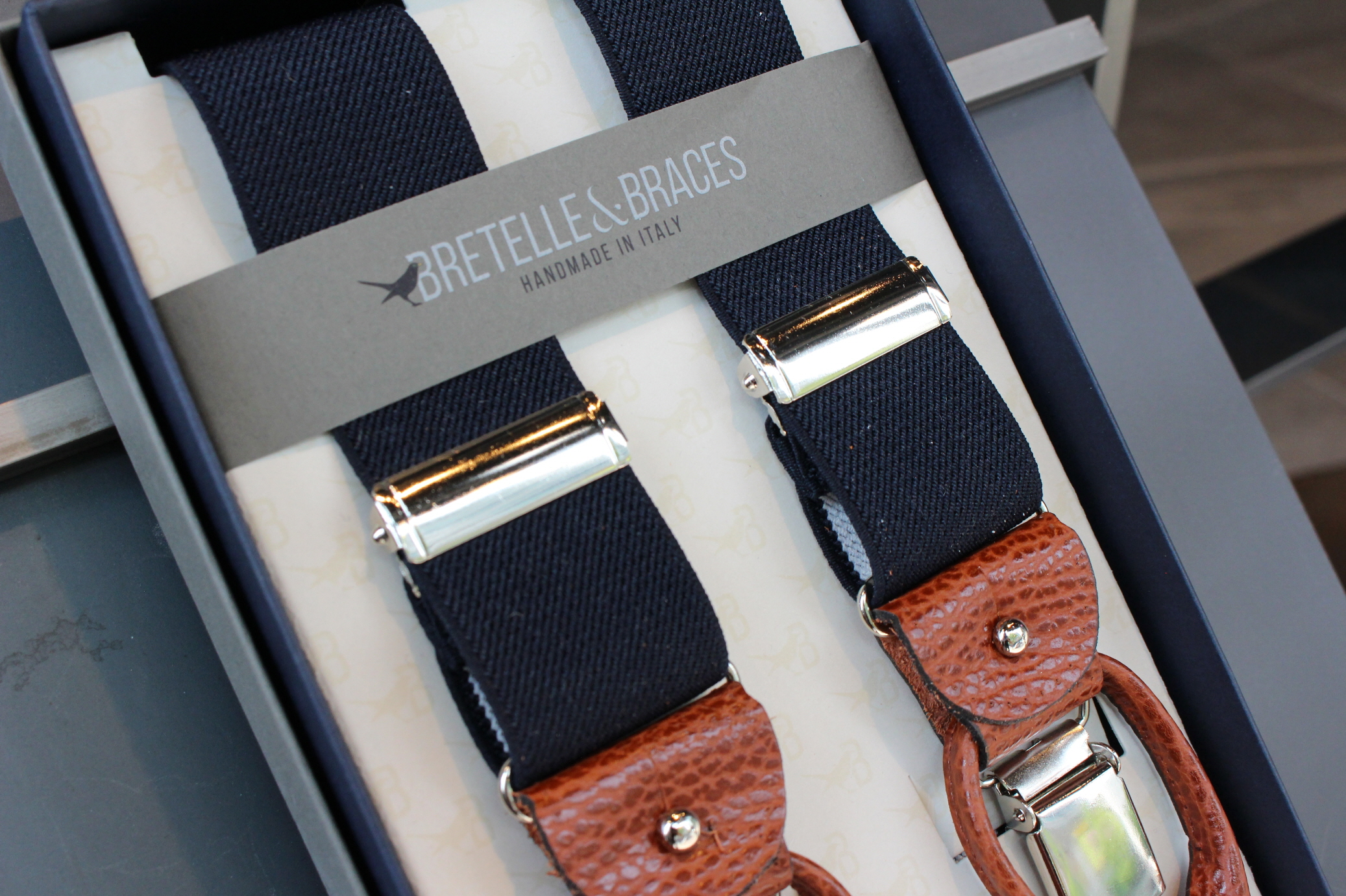 BRETELLE BRACES - navy & brown