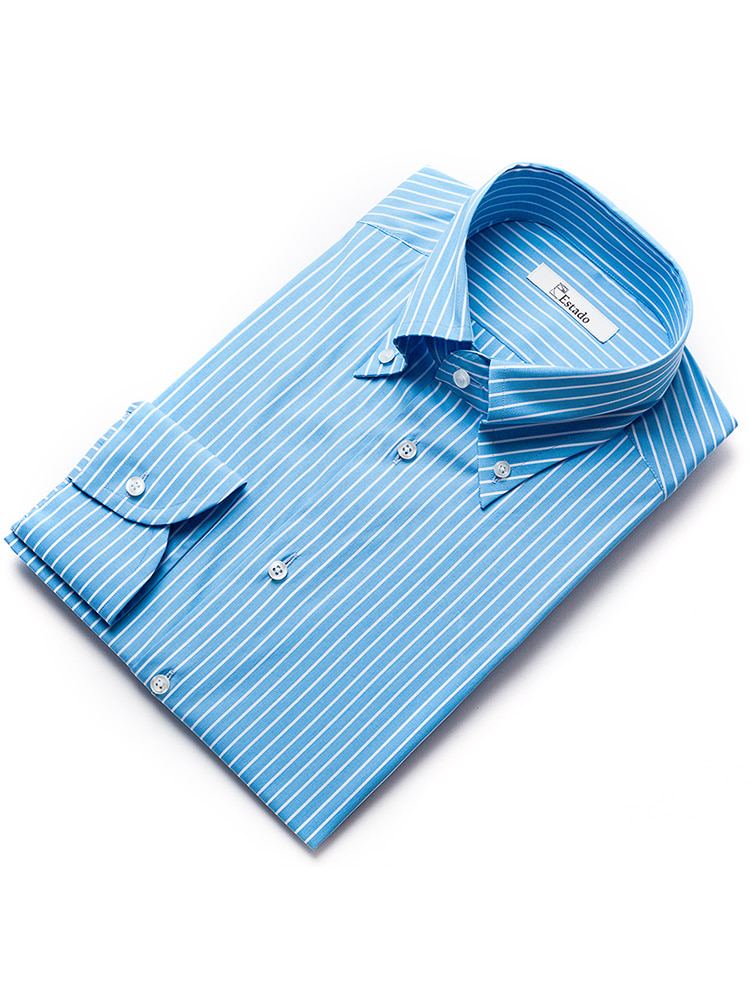 Chalk Stripe shirts - Skyblue(Albini)ESTADO(에스타도)