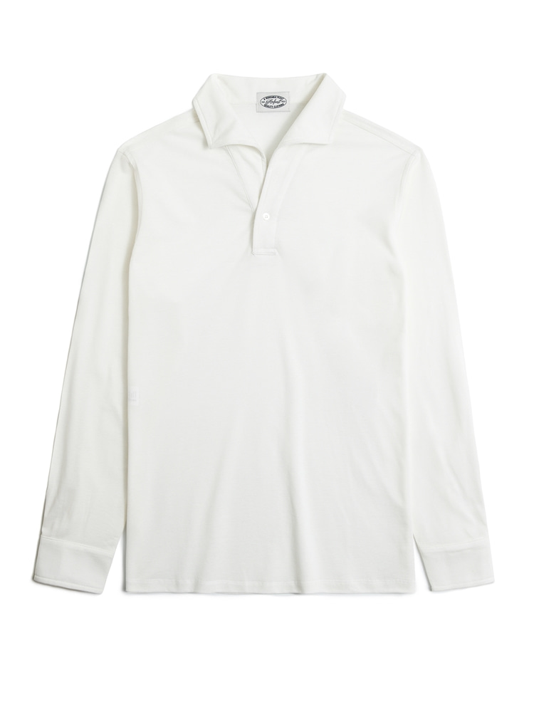WHITE ONEPIECE COLLAR LONG POLO SHIRTS(암피스트)