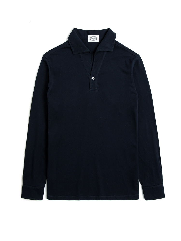 NAVY ONEPIECE COLLAR LONG POLO SHIRTS(암피스트)