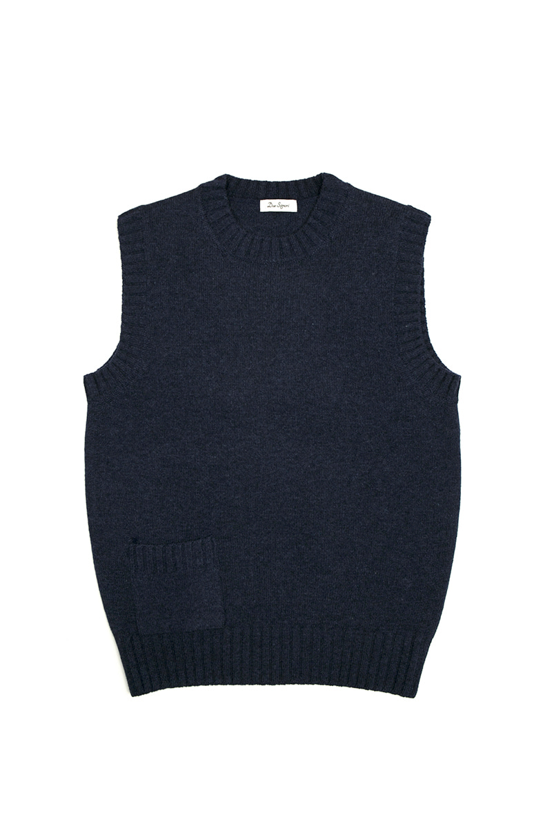 KNITTED VEST(NAVY)