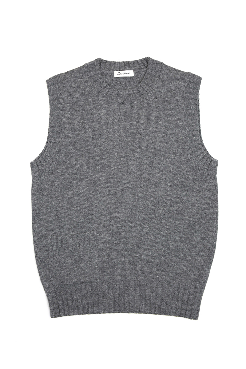 KNITTED VEST(GRAY)