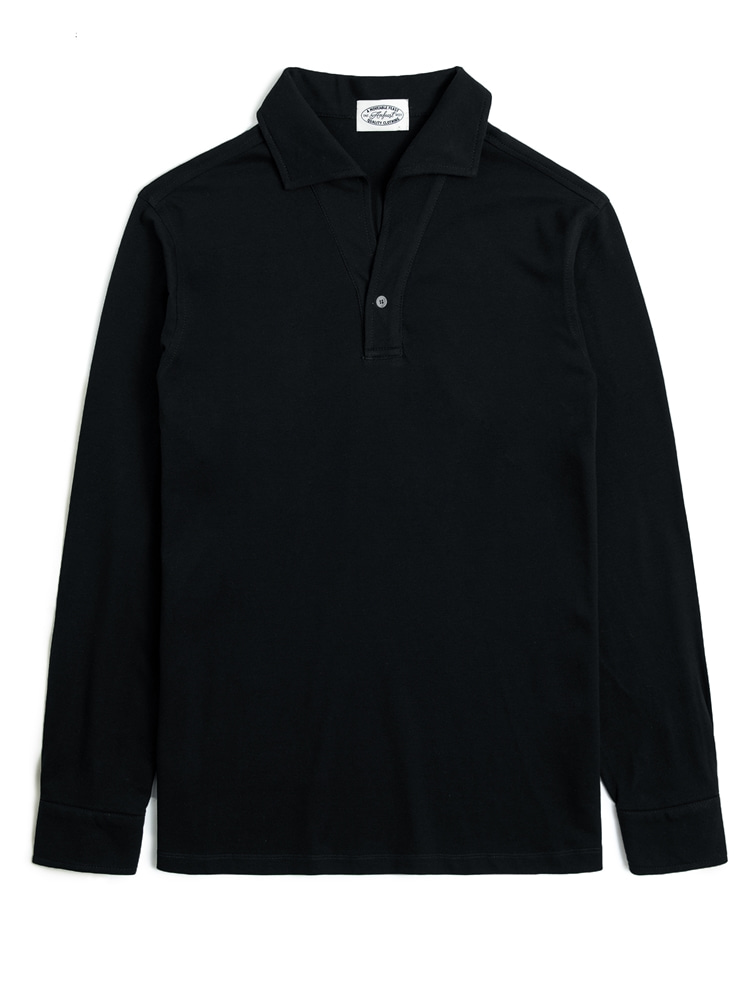 BLACK ONEPIECE COLLAR LONG POLO SHIRTS (암피스트)
