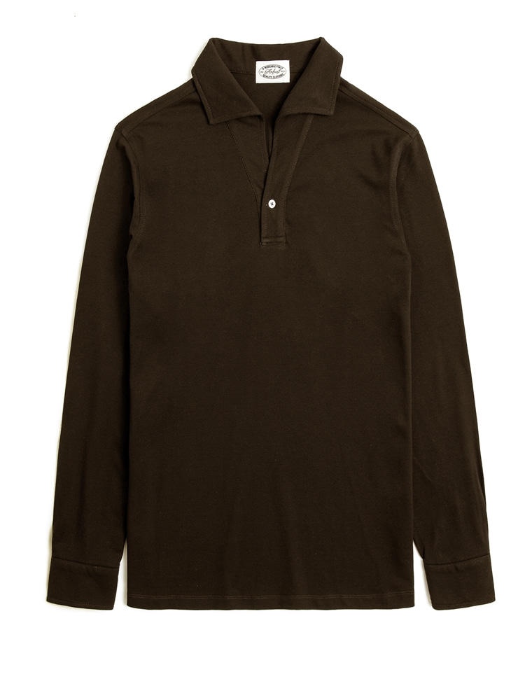 BROWN ONEPIECE COLLAR LONG POLO SHIRTS(암피스트)