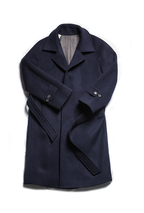 navy wool raglan belted coatChad Prom(채드프롬)