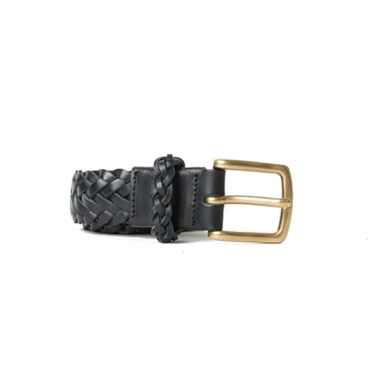 BRAIDED LEATHER BELT (BLACK) Esfai(에스파이)