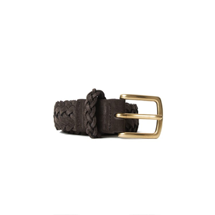 BRAIDED SUEDE BELT (BROWN)  Esfai(에스파이)