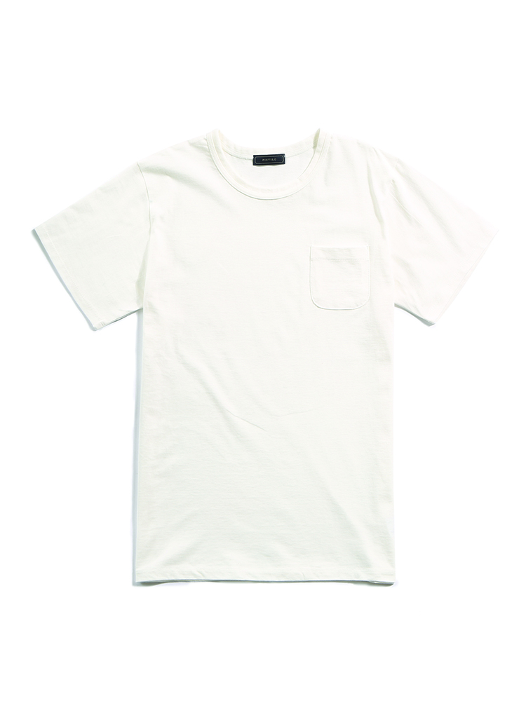 White shorts-sleeved pocket T-shirt PISTILO