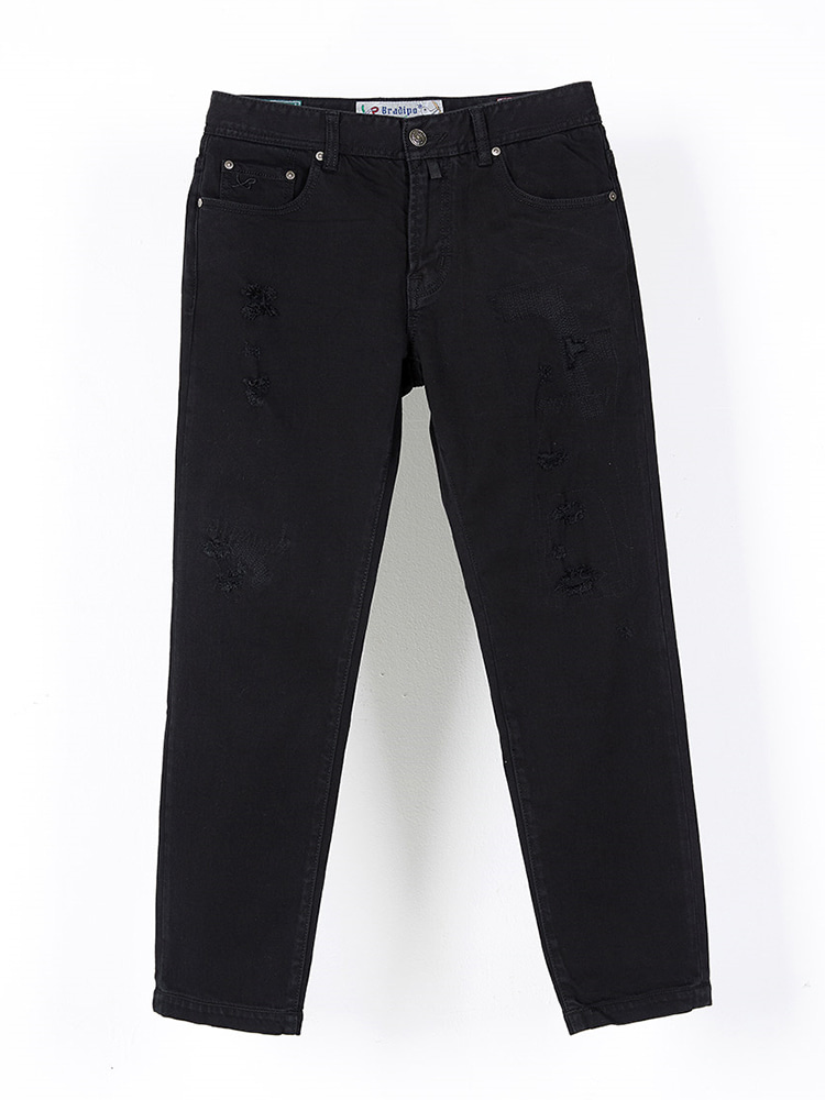 Tapered black needlework jean031BRADIPO(브라디포)