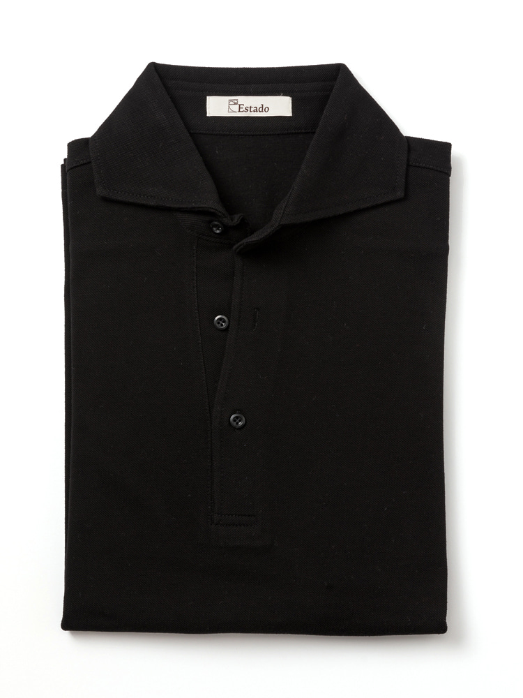 Pique shirts - Wide collar (Black)ESTADO(에스타도)
