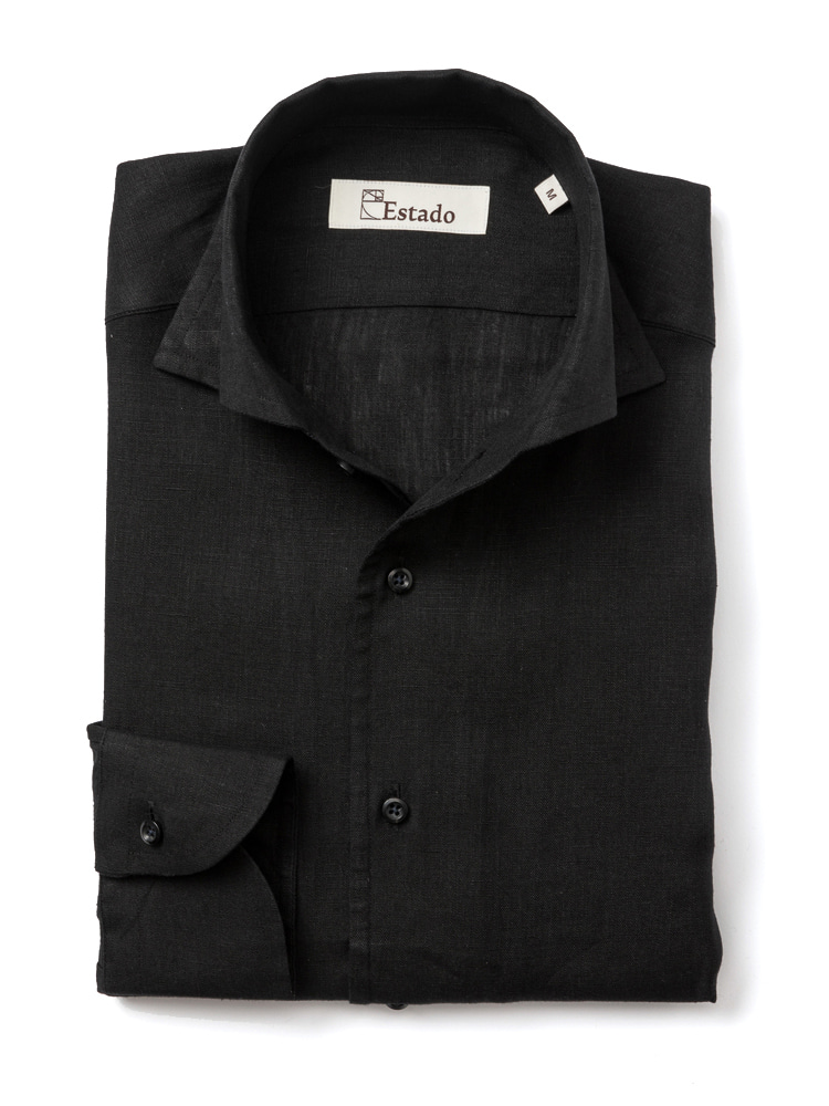 Linen shirts - One piece collar (black)estado(에스타도)