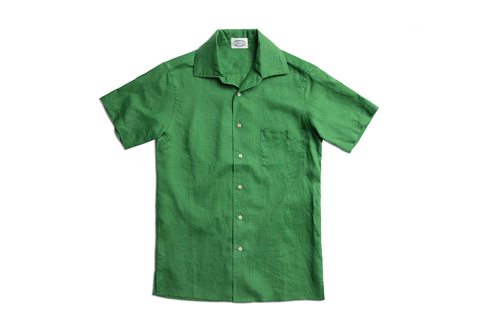 CLASSIC GREEN LINEN HALF SLEEVE SHIRTSAMFEAST(암피스트)