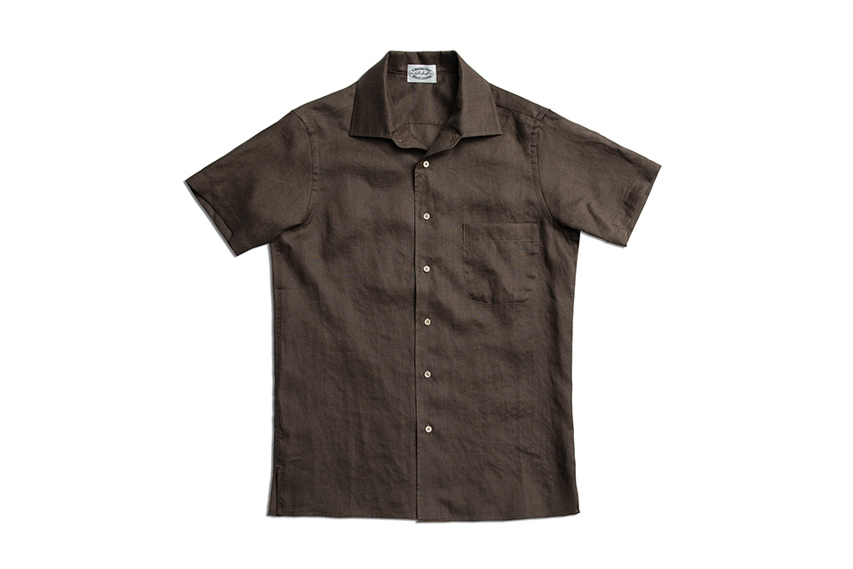 COFFEE BEAN BROWN LINEN HALF SLEEVE SHIRTSAMFEAST(암피스트)