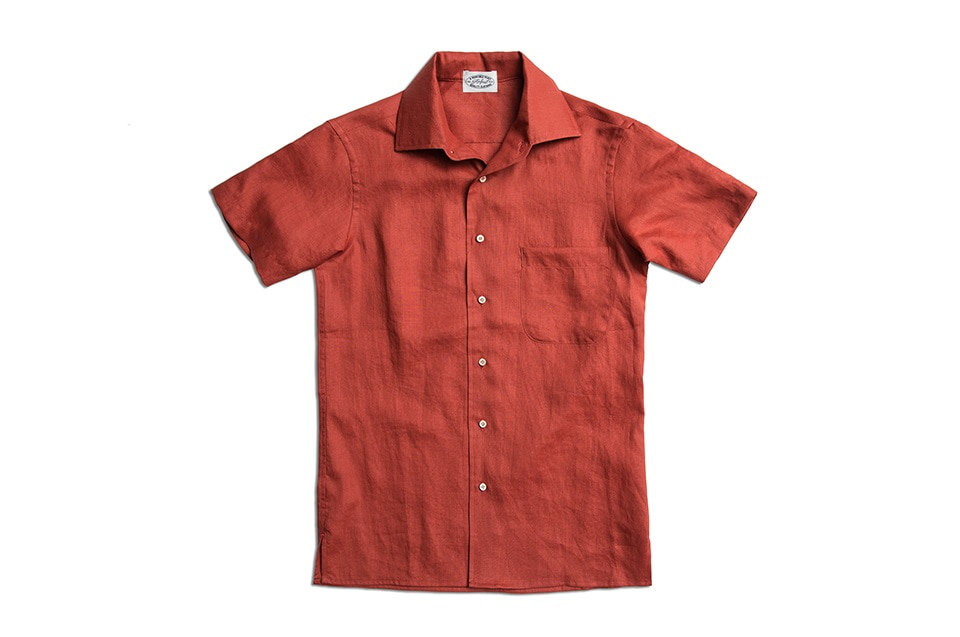 BRICK RED LINEN HALF SLEEVE SHIRTSAMFEAST(암피스트)