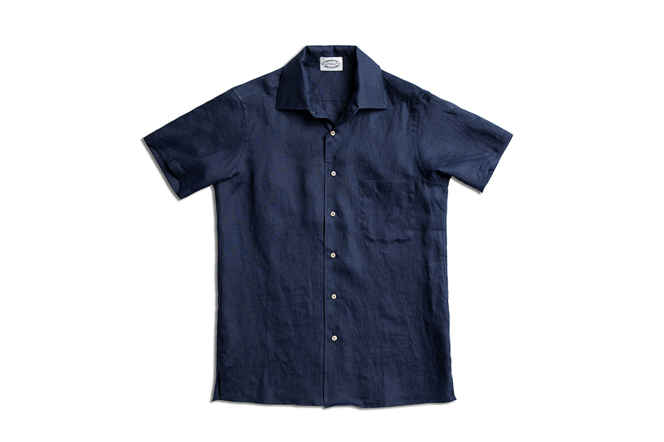 DEEP NAVY LINEN HALF SLEEVE SHIRTSAMFEAST(암피스트)