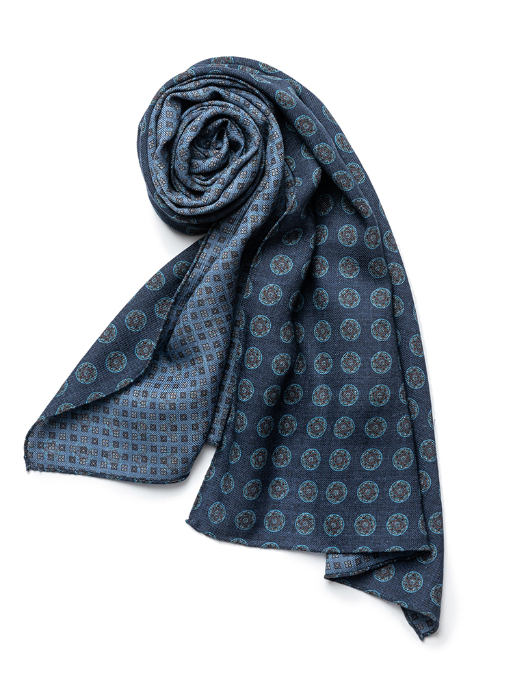 scarf 06 - Navy circle & blue small flowerEstado x Albeni(에스타도)