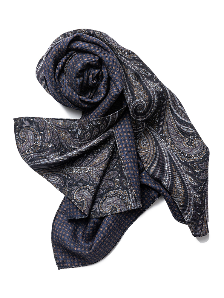 scarf 04 - Navy paisley & brown small flowerEstado x Albeni(에스타도)