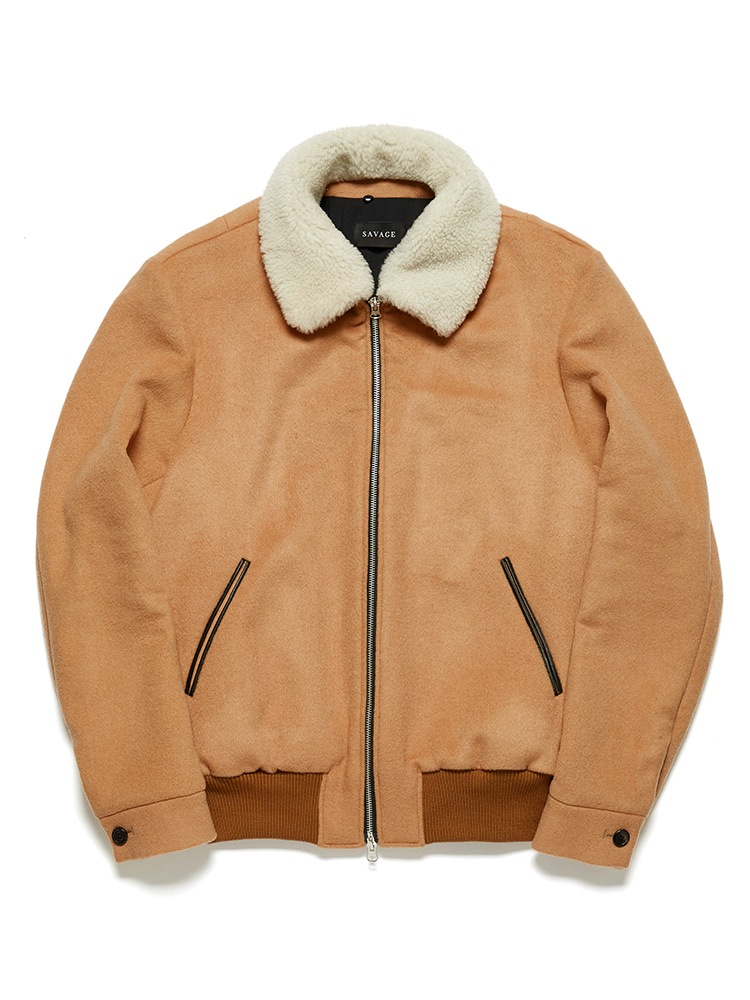 Camel Shearling Bomber Jacket - detachable collar(칼라 양모 색 변경가능)SAVAGE(세비지)