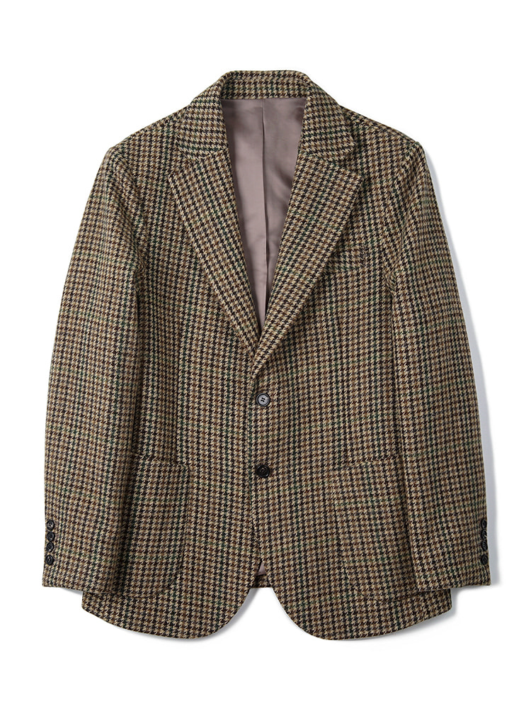 BANTS BTS Gun Club Check Tweed Wool 2B Single Jacket - Brown반츠