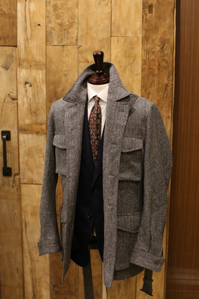 MOON TWEED LIGHT GREY HERRINGBONE Sartorial Field JacketRING JACKET(링자켓)