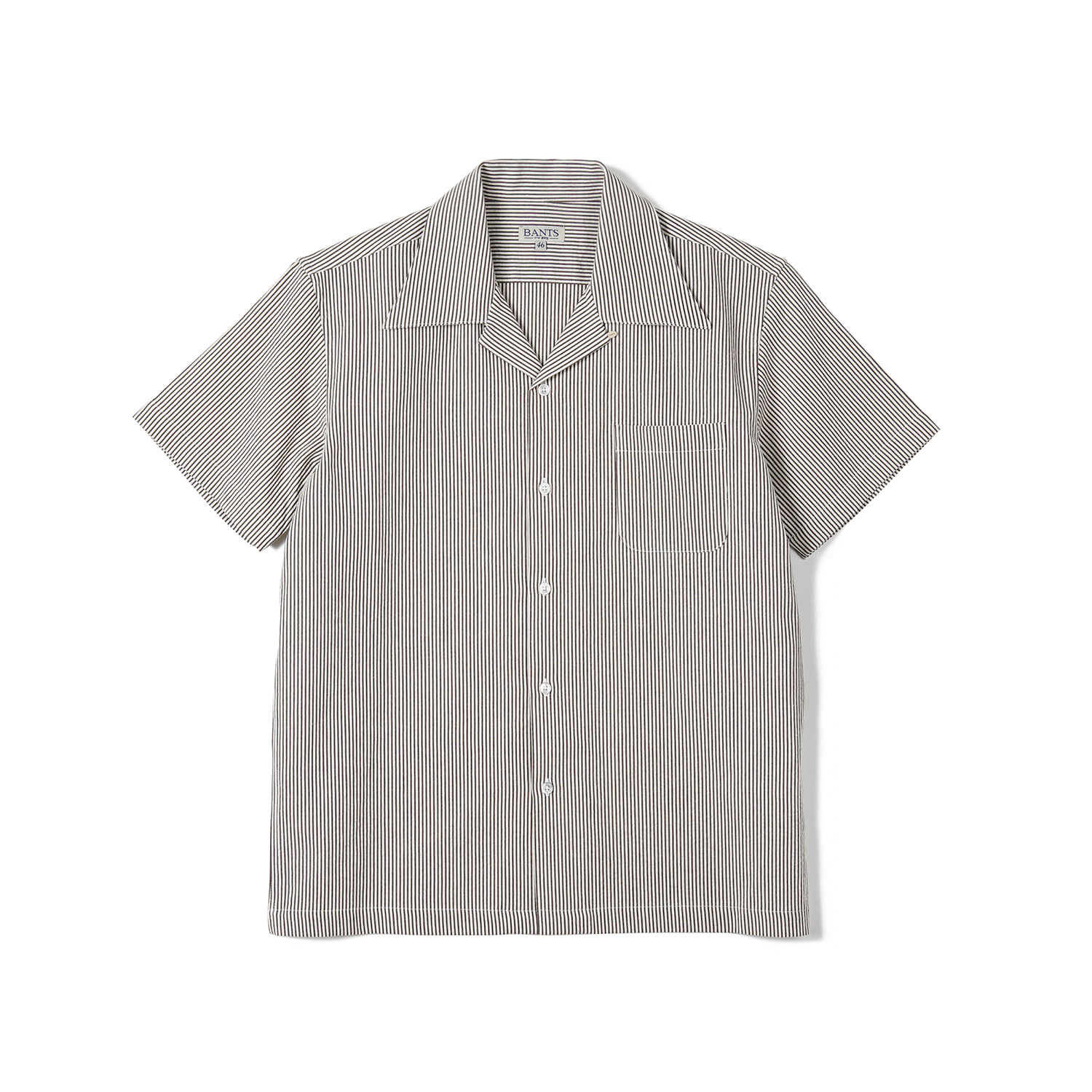 FLB Stripe Seersucker Open Collar Shirt - BrownBANTS(반츠)