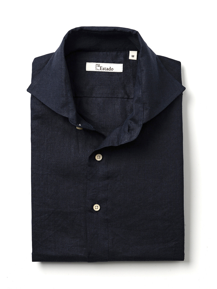 Linen shirts - PullOver (Navy)Estado(에스타도)