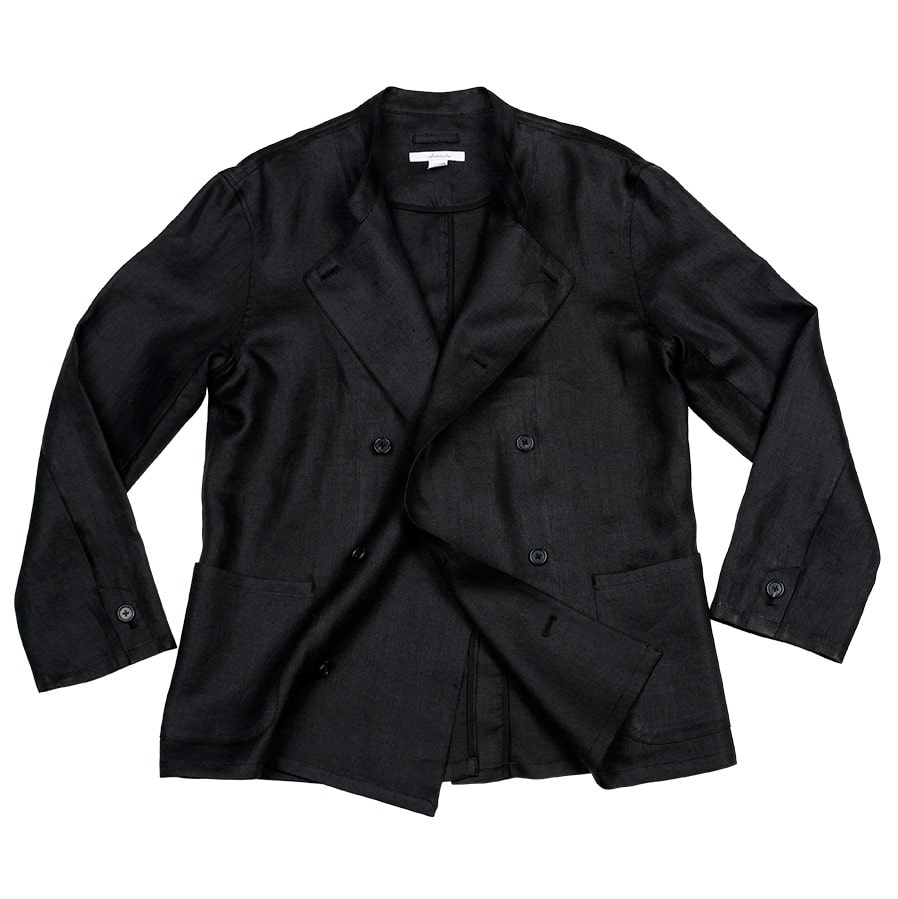아티튜드(ARTTITUDE)Double Breasted Linen Cock Jacket / Black