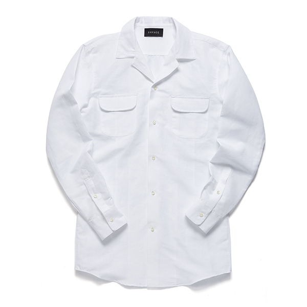 세비지(SAVAGE)White Cotton Linen Cuban Collar Shirts