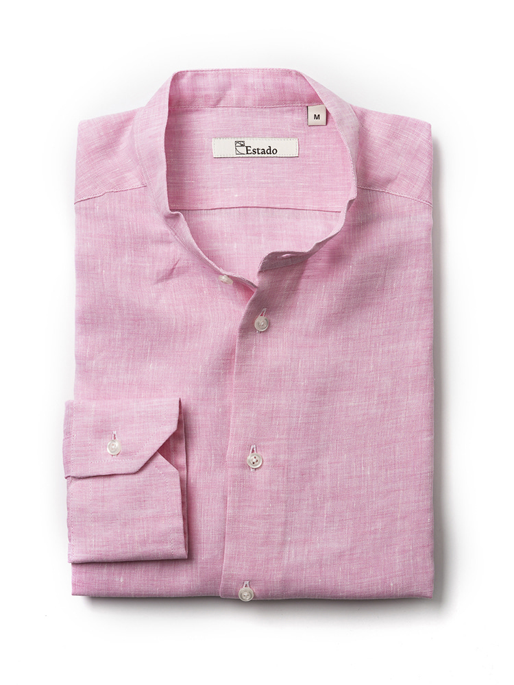 Linen shirts - Henry Neck (Pink)Estado(에스타도)