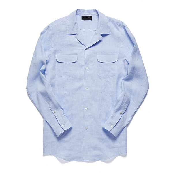 세비지(SAVAGE)Blue Linen Cuban Collar Shirts