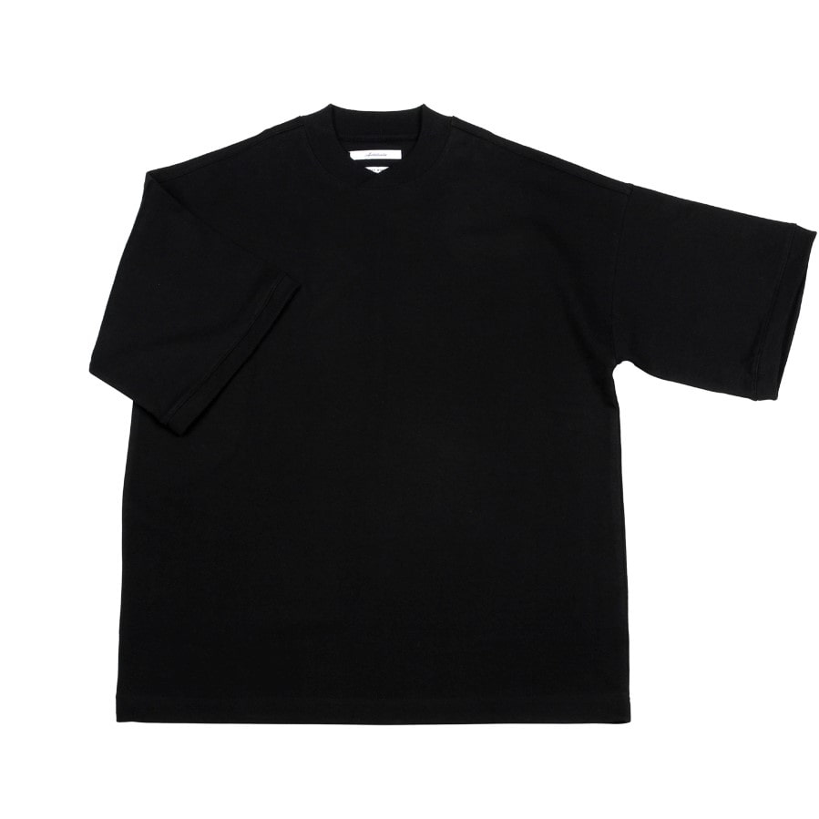 아티튜드(ARTTITUDE)Curved Mock Neck Half Tee / Black