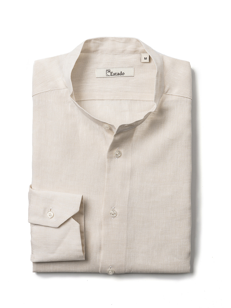 Linen shirts - Henry Neck (Light-Beige)Estado(에스타도)