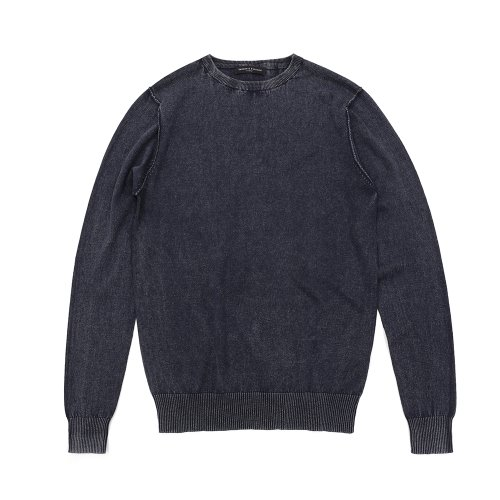 베나코앤폰타나(benaco & fontana)Washing crewneck knit01_BL