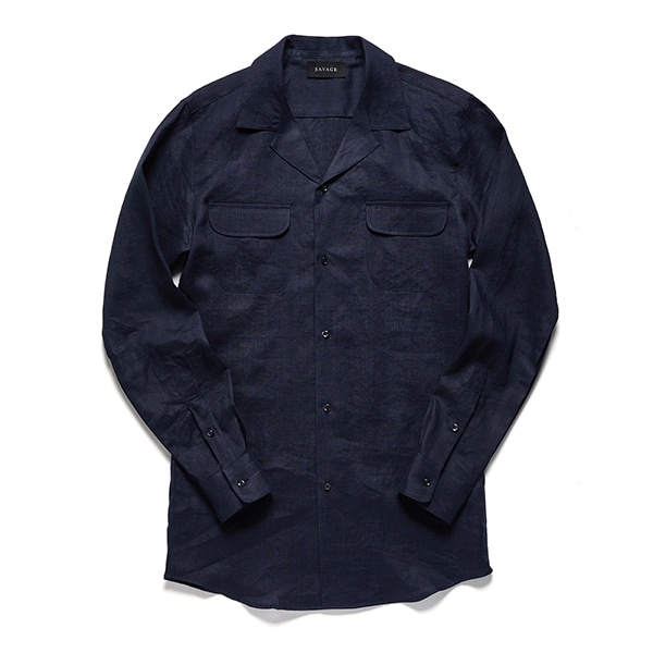세비지(SAVAGE)Navy Linen Cuban Collar Shirts