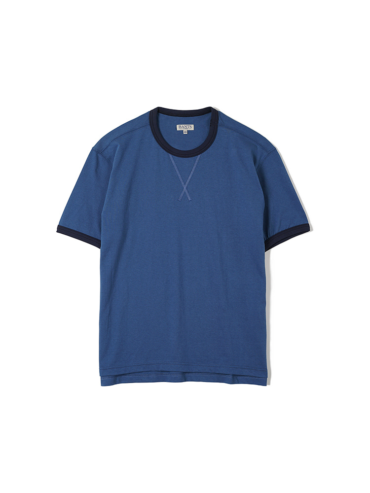 FLB Cotton Round Neck T-shirt Half - BlueBANTS(반츠)