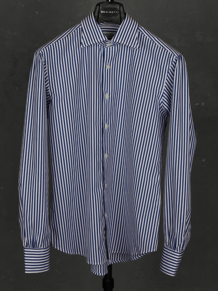 140's News Anchor Shirts - Navy London StripeBELLVORO(벨보로)