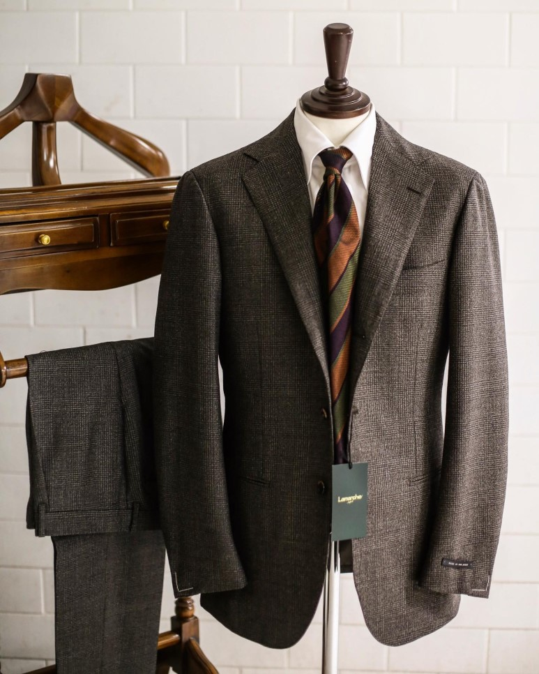 LMJ-06 Brown glen check SUITLamarche Napoli made by RingJacket라마르쉐나폴리