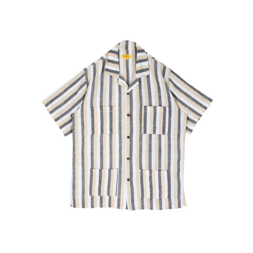 STRIPED LINEN PAPA SHIRT [L/BEIGE]THE RESQ(더레스큐)