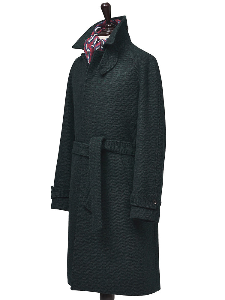 Foxbrothers Merinowool - green balmacaan coat (long ver)Estado(에스타도)