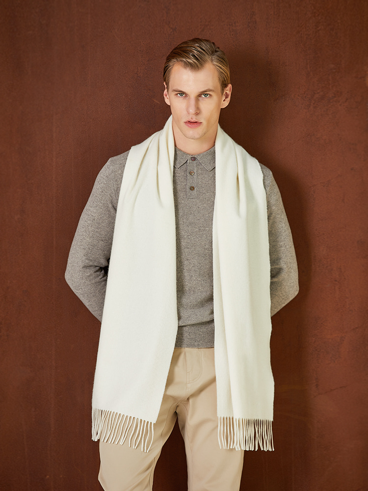 Cashmere solid muffler white Kantfeel(칸트필)