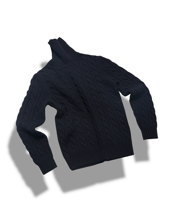 5g 5ply Cable turtleneck_Navy&BlackVERNO(베르노)
