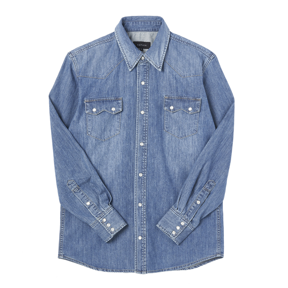Denim Western Shirts - BlueSAVAGE(세비지)