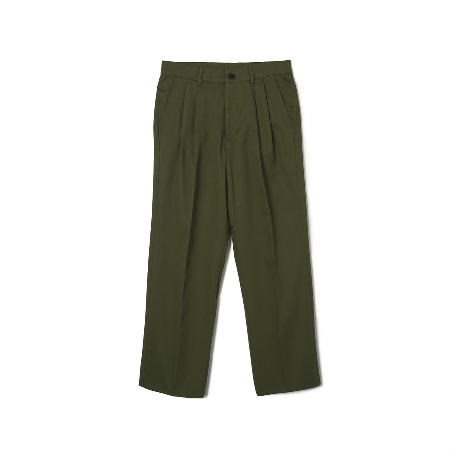WSK Cotton Twill Chino Two-tuck Pants - OliveBANTS(반츠)