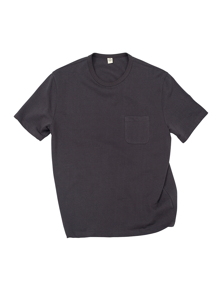 GEN COTTON CREWN ECK T-SHIRT CHARCOAL GRAY OLDBē(올드비)