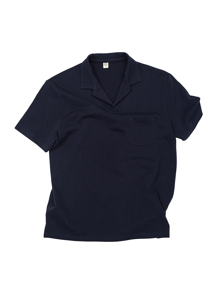 GEN COTTON OPEN COLLAR POLO SHIRT NAVY OLDBē(올드비)